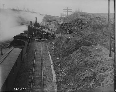 Chicago and North Western Historical Society - Train Wreck Throws Engine Off Rail