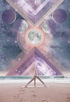 Traingle Pose Moon Phase by Lori Menna