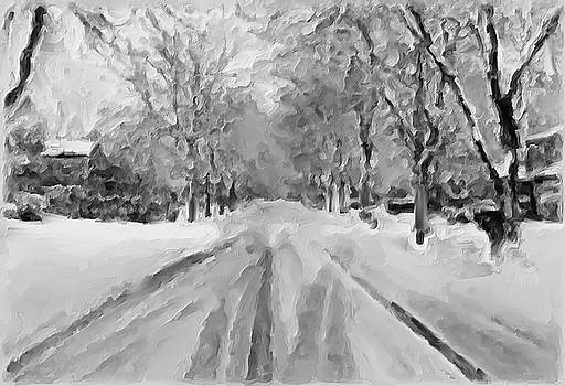 Tranquil Winter Snow Street With Car Tracks by Exclusive Canvas Art