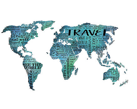 Travel Quote World Map by Michelle Eshleman