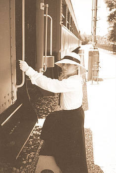 Cindy New - Traveling by Train - Sepia