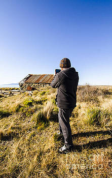 Travelling man taking smartphone photograph by Jorgo Photography - Wall Art Gallery