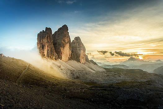Tre Cime at sunset by Toma Bonciu