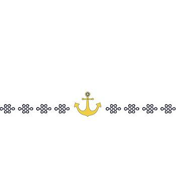 Treasure knot with yellow anchor  by Helga Novelli