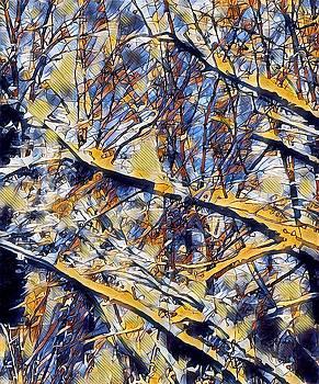 Brenda Plyer - Tree Abstract 5 Blue and Ochre