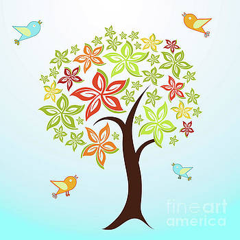 Tree and birds by Gaspar Avila