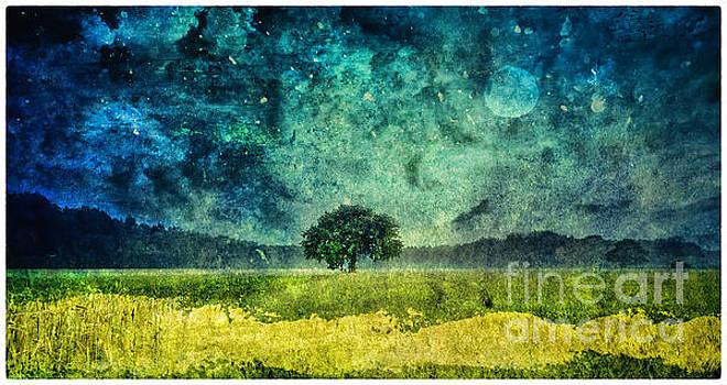Justyna Jaszke JBJart - Tree and Moon Art Landscape