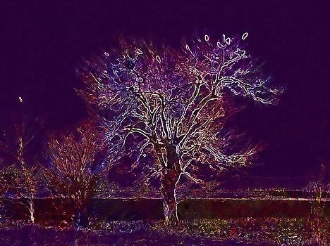 Tree Birds Dry Branch Landscape  by PixBreak Art