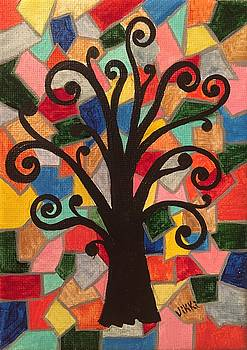 Tree In A Stained Glass Sunset by Vikki Angel