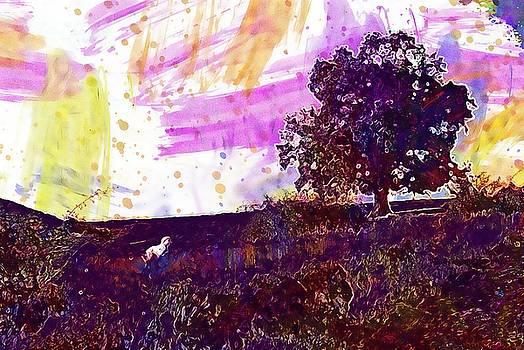 Tree Meadow Dog Animal Pet Green  by PixBreak Art