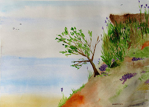Tree on Bluff Overlooking the Sea by Ron Enderland