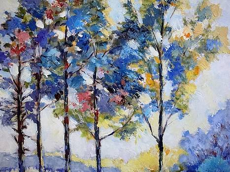 Trees at dawn  by Cathy MONNIER