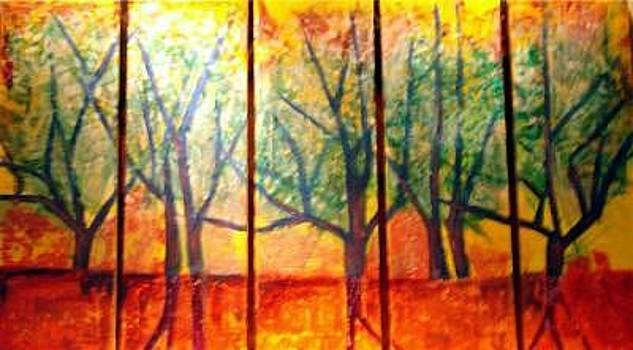 Trees In Red by Janice Webb