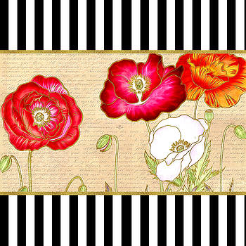 Trendy Red Poppy Floral Black and White Stripes by Tracie Kaska