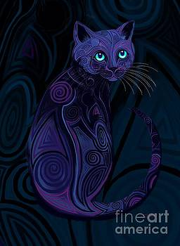 Tribal Cat Blue Eyes by Nick Gustafson