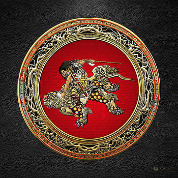 Tribute to Hokusai - Shoki Riding Lion  by Serge Averbukh