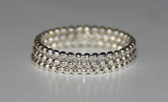 TRIO  Beaded  Dotted Sterling Silver Stacking  Stack  Stackable Rings eternity bands  by Nadina Giurgiu