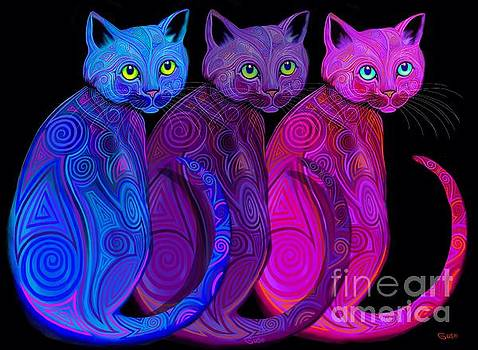 Trio of Tribal Cats by Nick Gustafson