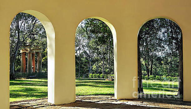 Triptych View Through Arches by Kaye Menner by Kaye Menner