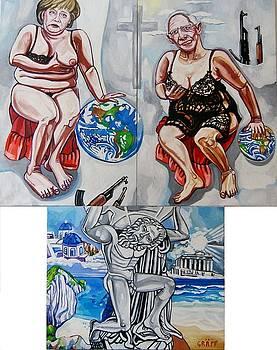 Triptychon - Der griechische Altar. Merkel und Schaeuble als falsche Caritas by Matthias Laurenz Graeff