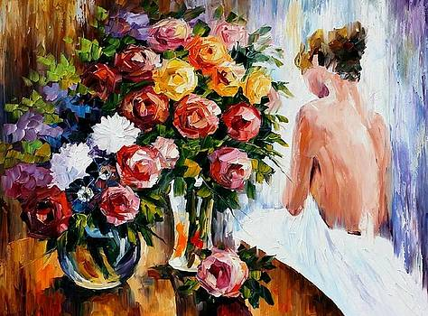 Triumph Flowers - PALETTE KNIFE Oil Painting On Canvas By Leonid Afremov by Leonid Afremov