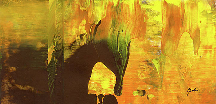 Trojan Horse On Fire - Orange And Brown Abstract Art Painting by Modern Abstract
