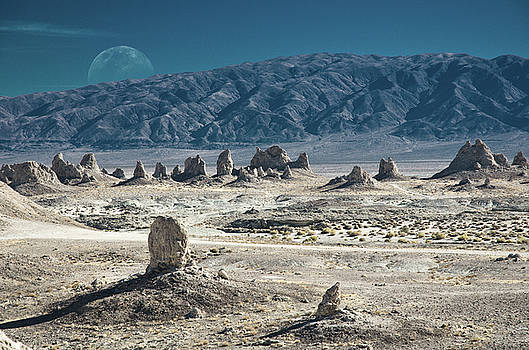 Trona Pinnacles with the Rising Moon by Marius Sipa