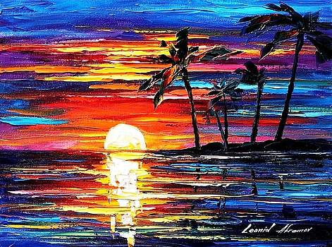 Tropical Fiesta - PALETTE KNIFE Oil Painting On Canvas By Leonid Afremov by Leonid Afremov