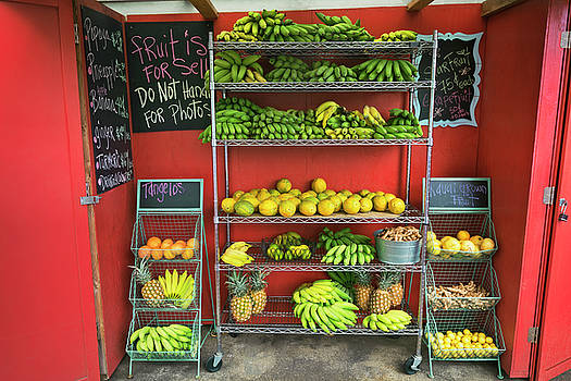 Tropical fruit stand in Hanalei. by Larry Geddis