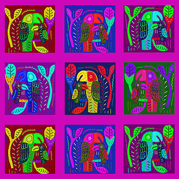 Tropical Jungle Parrots by Vagabond Folk Art - Virginia Vivier