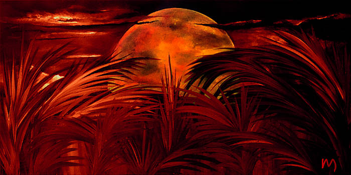 Tropical moon red by Rolly Mouchaty