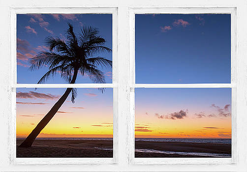 James BO Insogna - Tropical Paradise Colorful Sunset Whitewash Window View