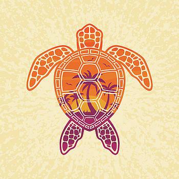 Tropical Sunset Sea Turtle Design by John Schwegel