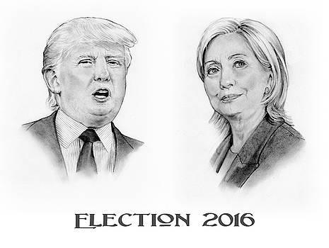 Joyce Geleynse - Trump and Hillary Pencil Portraits Election 2016