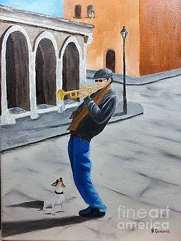 Trumpet Man and Friend by Bev Conover