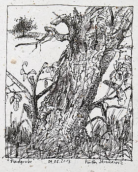 Martin Stankewitz - trunk of a cherry tree ink drawing