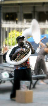 Tuba Player Jackson Square by Ted Hebbler