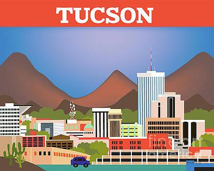 Tucson Arizona Horizontal Skyline by Karen Young