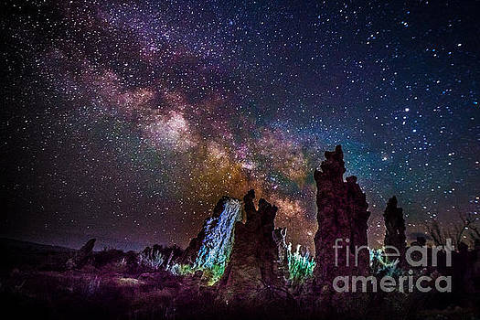 Tufa Towers at Mono Lake with Milkyway Galaxy by Jim DeLillo