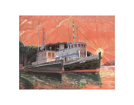 Jack Pumphrey - Tug Boats anchored in red sky