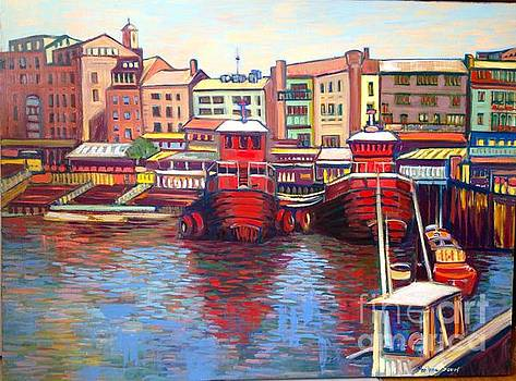 Tugboats in Portsmouth Harbour by Marilene Sawaf