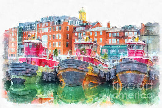 Tugboats Portsmouth New Hampshire Watercolor by Edward Fielding