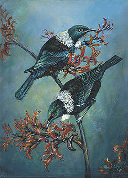 Tui on Flax by Peter Jean Caley