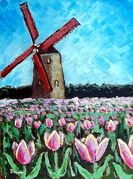 Tulip field with windmill by Brian Van der Spuy