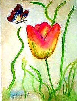 Tulip with Butterfly by Elizabeth A Gawronski