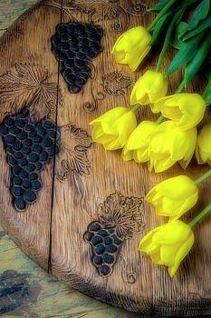Tulips And Carved Grapes by Garry Gay