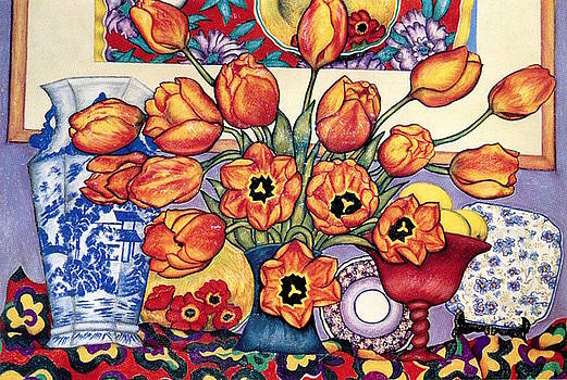 Richard Lee - Tulips and China on the Mantlepiece