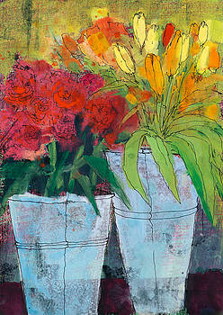 Martin Stankewitz - tulips and roses,flower still life painting