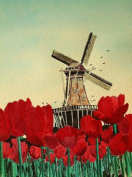 Tulips and Windmill by Diane Merkle