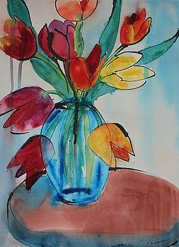 Tulips in a Blue Glass Vase by Ruth Kamenev